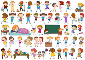 Door stickers Kids Set of doodl character