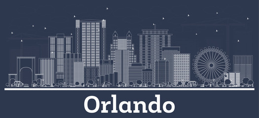 Wall Mural - Outline Orlando Florida City Skyline with White Buildings.