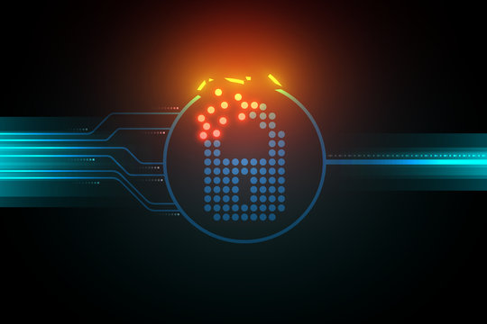 Insecure cyber security system illustration broken lock symbol and light circuit on dark background