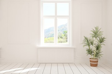 Stylish empty room in white color with summer landscape in window. Scandinavian interior design. 3D illustration Wall mural