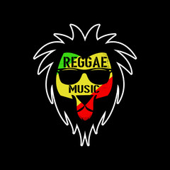 reggae music jamaica cool lion rasta red gold and green flag
