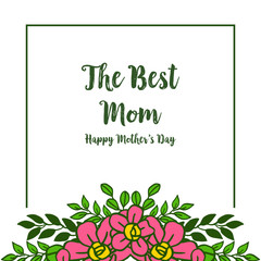 Wall Murals Retro sign Vector illustration pattern pink wreath frame with greeting card of best mom
