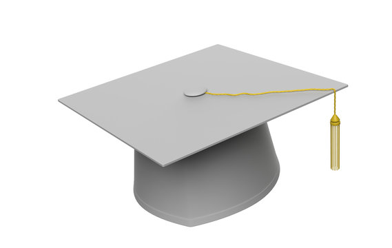 Graduation cap with gold tassel isolated on white background. 3d illustration