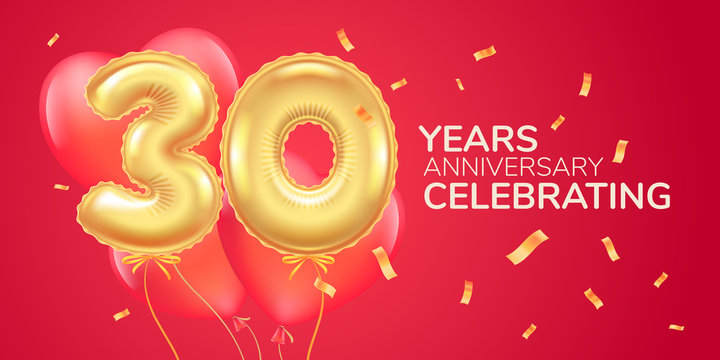 30 years anniversary vector logo, icon. Template banner with heart air hot balloon