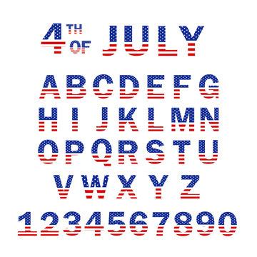 USA Flag Alphabet and Numbers. 4th of July USA flag style font design. USA Flag Font template. Font USA Flag Stars Set.