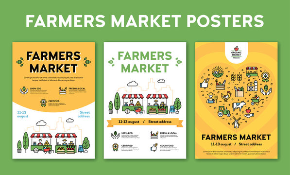 Vector Farmers Market Event Poster Set