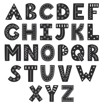 Black and white alphabet in scandinavian style. Solid letters
