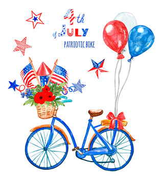4th of july patriotic bicycle. Watercolor blue bike with US flags, red, white and blue balloons and poppy, isolated. Holiday card.