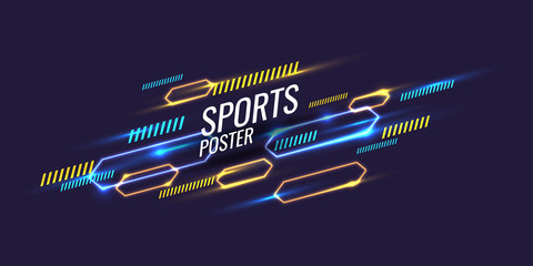 Abstract geometric background. Neon sports poster with the geometric figures. Fotoväggar