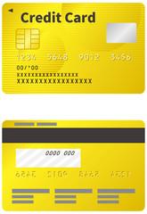 クレジットカードのイメージイラスト(ゴールド)(表裏)