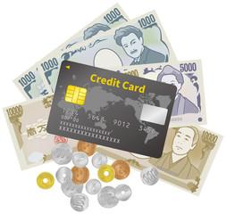 紙幣と硬貨とクレジットカードのイメージイラスト