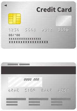 クレジットカードのイメージイラスト(シルバー)(表裏)