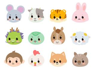 12 animals zodiac_Face