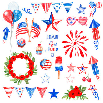 July fourth symbols and elemnts set in blue, red and white colors of USA flag, isolated. Patriotic decor for design.