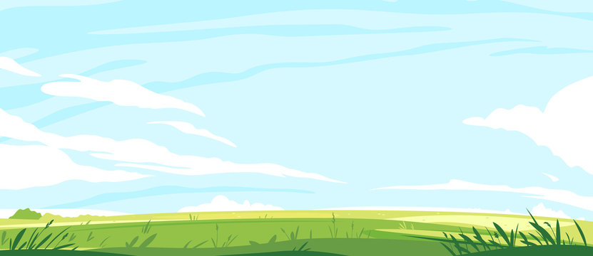 Big panorama of green lawn, summer sunny glades with field grasses and blue sky, travel landscape illustration