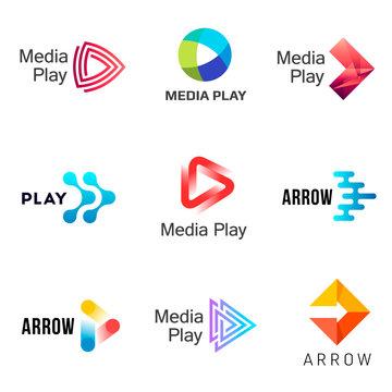 Set of media play logo design template.