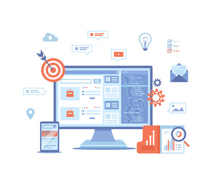 Search engine optimization, SEO, analytics, analysis, targeting, data monitoring, digital marketing. Monitor and phone with search results website on the screen Vector illustration on white background