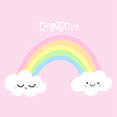 Rainbow with two cute clouds - cute rainbow decoration. Little rainbow and clouds, cute characters set, posters for nursery room, greeting cards, kids and baby clothes. Isolated vector.