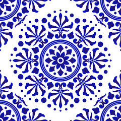 blue and white decorative flower pattern
