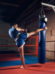 Athletic male kick boxer training hard kickboxing and preparing for fight, kicking and punching heavy boxing bag near the ring at the health club