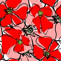 Colorful hand drawn poppies, flowers seamless pattern.