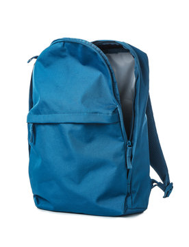 Empty school backpack on white background