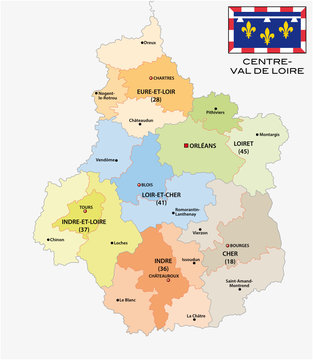 administrative and political map of the region Centre Val de Loire with flag, france