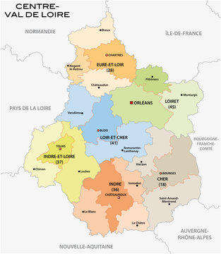 administrative and political map of the region Centre Val de Loire, france