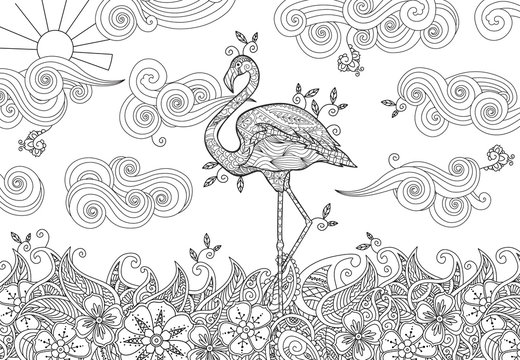 Coloring page with doodle style flamingo in the river.