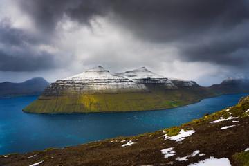 Wall Mural - Island of Kalsoy viewed from the Klakkur mountain near Klaksvik on Faroe Islands
