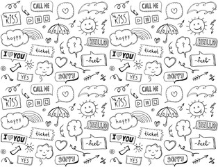 Seamless pattern with omic style elements and speech bubbles, doodle style hand drawn vector illustration