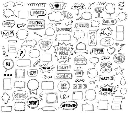 Graphic sketch elements set - doodle graphic line signs and symbols, speech bubbles, frames, phrases