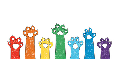 Set of colored cat paws, colorful.  Rainbow. Vector illustration for your design. Can be used as logo/icon or brochure template. Easy to change colors.