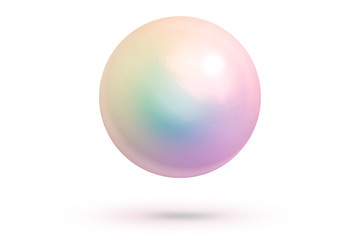 Realistic single shiny natural rainbow sea pearl with light effects isolated on white background. Spherical beautiful orb with transparent glares and highlights. Jewel gems. 3D render.