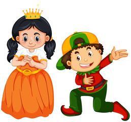 Papiers peints Jeunes enfants Prince and princess costume on white background