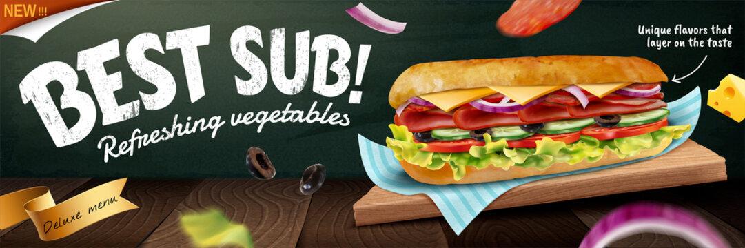 Delicious submarine banner ads