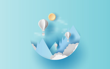 Illustration of cloudscape mountain view  with hot air white balloons float up in the blue sky sunlight .Graphic design paper cut style.Vacation summertime idea pastel color background for card.vector