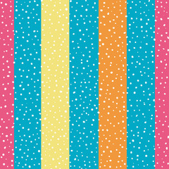 Bright orange, yellow and pink wide vertical stripes with random dots . Seamless vector pattern on sky blue background. Great for wellness, beauty, food products, packaging, kids, stationery giftwrap