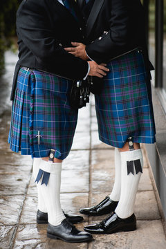 Close up of Gay Wedding Male couple, wearing a welsh Kilt