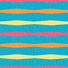 Bright orange, yellow and pink horizontal polygon stripes with random dots . Seamless vector pattern on sky blue background. Great for wellness, beauty products, packaging, kids, stationery giftwrap