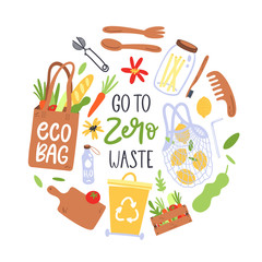 Hand drawn elements of zero waste. Eco lifestyle. Vector illustration.