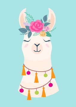 Vector illustration of cute cartoon llama with flowers. Stylish drawing for birthday cards, party invitations, poster and postcard.