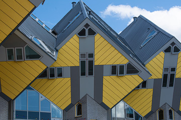 Fototapeten Rotterdam Rotterdam, Holland / Netherlands - April 26 2019: apartments and offices inside the cubic houses of Rotterdam, metropolitan city by architect Piet Blom