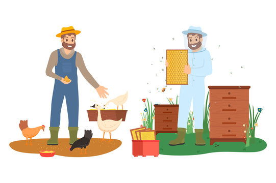 Men in farming clothes feeding chicken and goose, holding hives with honey, portrait view of smiling beekeeper and farmer, agriculture work vector