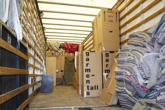 Inside removals van