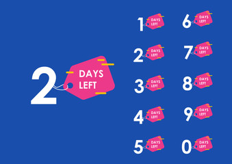 Number days left countdown vector illustration template Wall mural