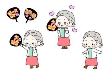 推しうちわでアイドルの応援をするおばあちゃん・アイドルオタ活のイラスト・おめかしおばあちゃん