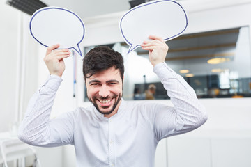 Founder with creativity speech bubbles