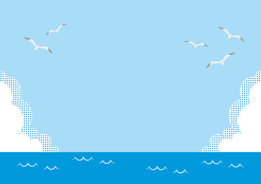 illustration of the sea, blue sky, clouds and sea gull flying.