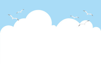 illustration of white clouds, the sky and seagulls flying.